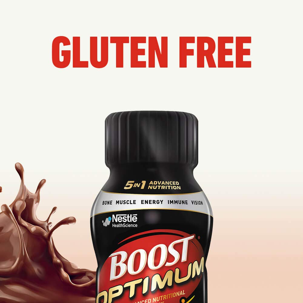 Boost Optimum Advanced Nutritional Drink, Rich Chocolate, 8 Ounce Bottle (Pack of 16) 22 Grams Protein, 5-in-1 Advanced Nutrition