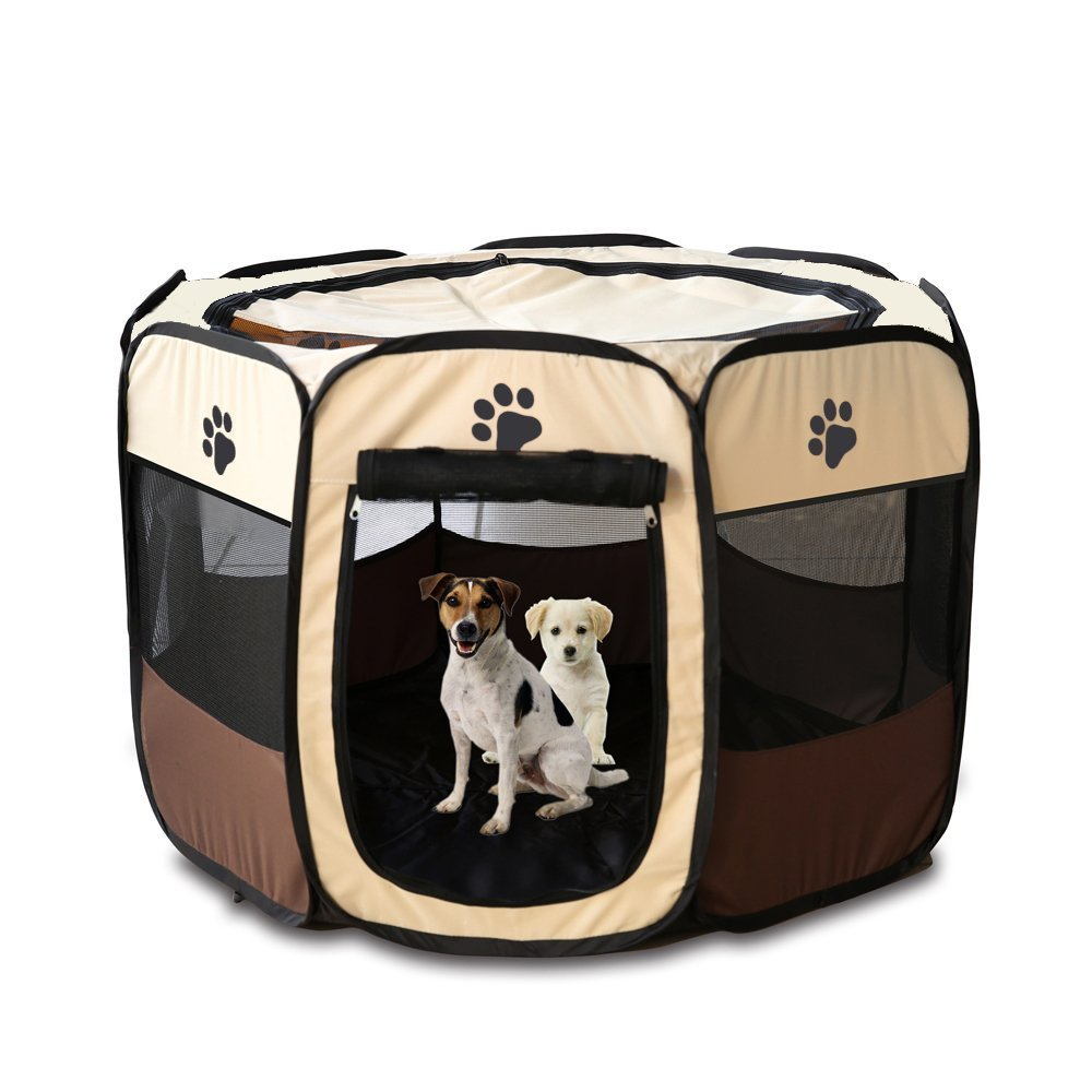 Pop Up Tent Pet Playpen Carrier Dog Cat Puppies Portable Foldable Durable Paw Kennel Brown S