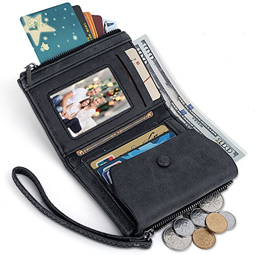 UTO Women Wristlet Small Wallet Compact Matte PU Leather Card Slot Zipper Coin Holder Purse Black -