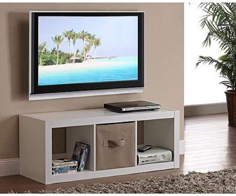 Better Homes and Gardens 4-Cube Organizer Storage Bookcase Bookshelf (4, White) (White, 3 Cube)