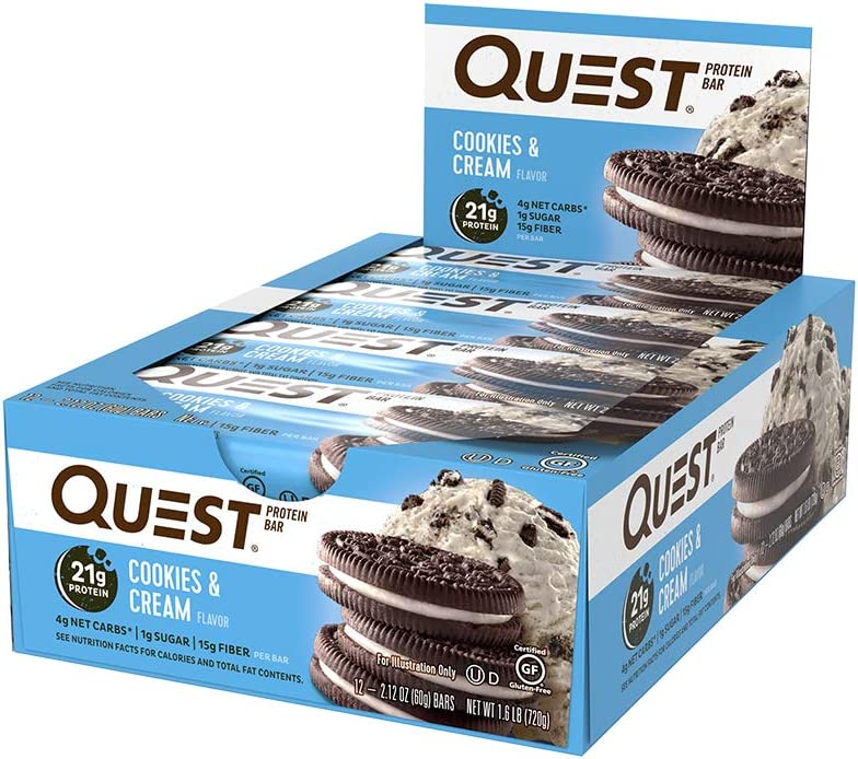 Quest Nutrition Cookies & Cream Protein Bar, High Protein, Lo…