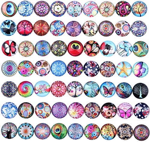 (200 Pieces 12mm Mixed Color Pattern Mosaic Flower Tree of Life Butterfly Owl Printed Glass Half Round Crafts Glass for Jewelry)