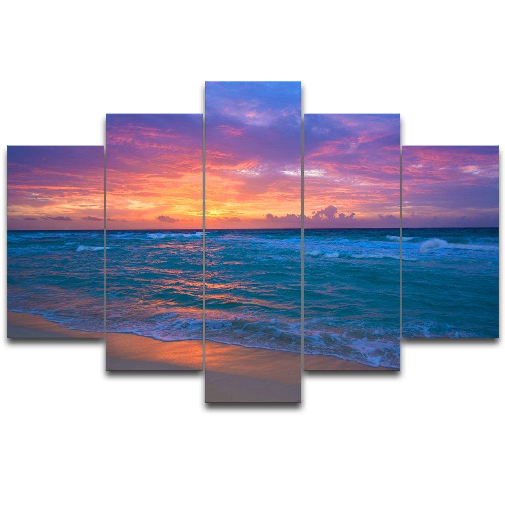 【リブラLibra】 5パネルセット アートパネル インテリアアート 海の景色 キャンバス絵画 (木枠付きの完成品) (L, RA0612) B078VRYF95 Large|RA0612 RA0612 Large
