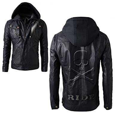 33278137e9f1 Men's Motorcycle Brando Style Biker Real Leather Hoodie Jacket - Detach Hood  with Skull (XS