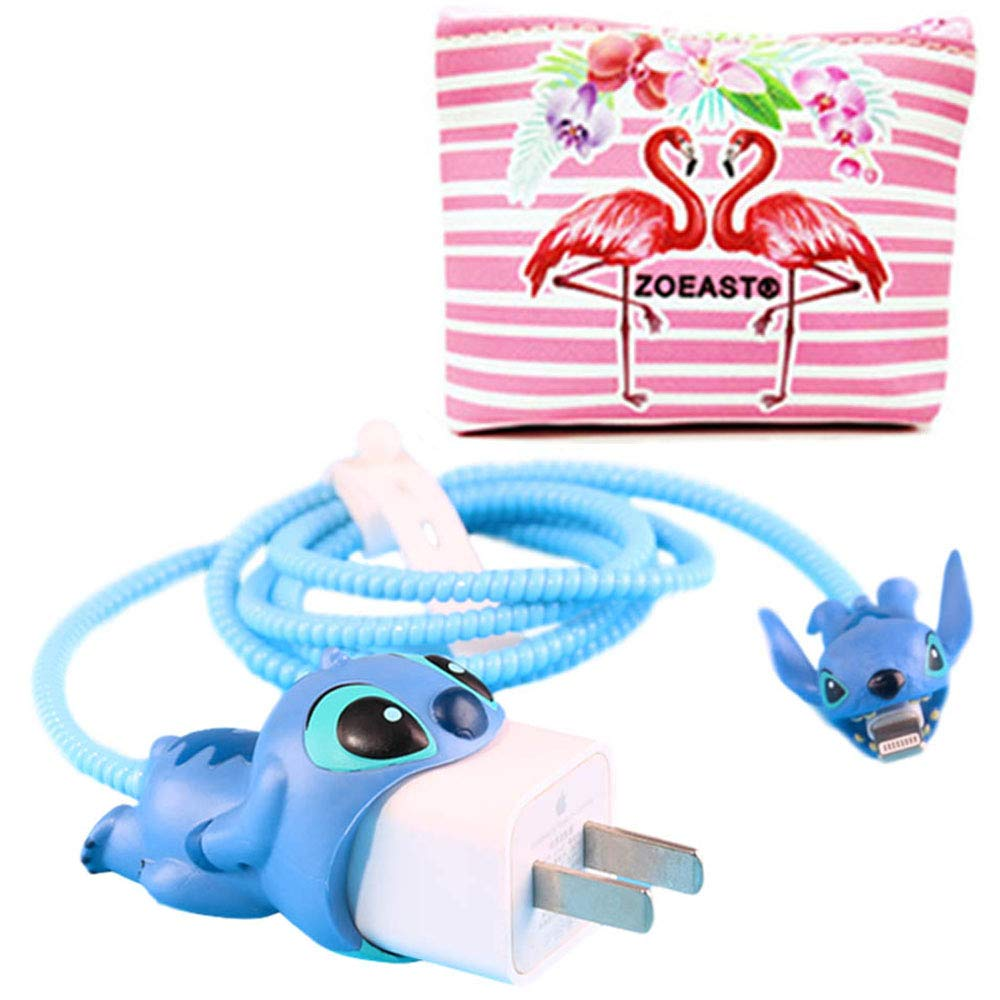 ZOEAST(TM) DIY Animal Protector USB Charger Saver Charging Data Earphone Line Protector Compatible with All iPhone Xs Max XR X 8 7 6 Plus USB Wire (Stitch)