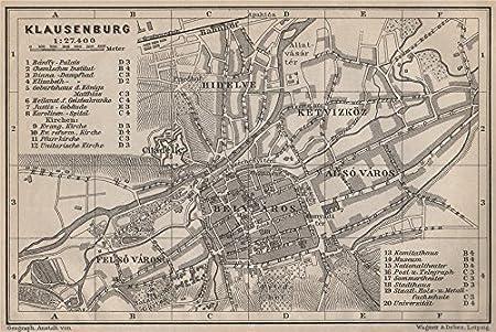 Klausenburg  Kolozsvar Romania 1905 map CLUJ-NAPOCA town city planul orasului