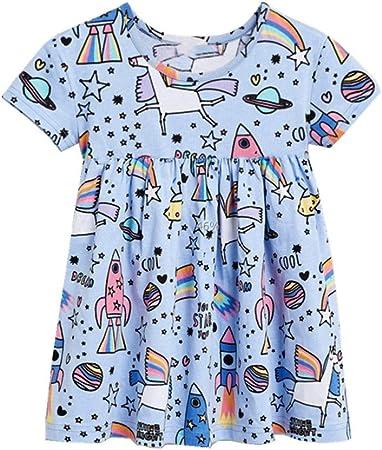 Vestido de verano lindo de las niñas Vestido de camiseta de algodón suelto con estampado de