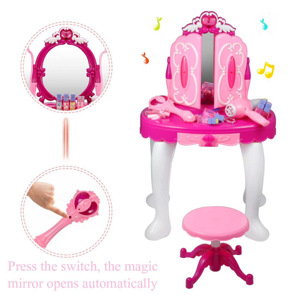 Cocoarm Girls Dressing Table, Kids Vanity Table Chair Beauty Play Set, Princess Make Up Vanity Table Girls Toy Makeup Accessories with Stool, Mirror, Hair Dryer by Cocoarm (Image #5)