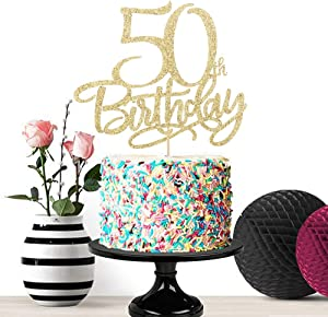 Eiveny Gold Happy 50th Birthday Cake Topper,Hello 50, Cheers to 50 Years,50 & Fabulous Party Decoration (50th)