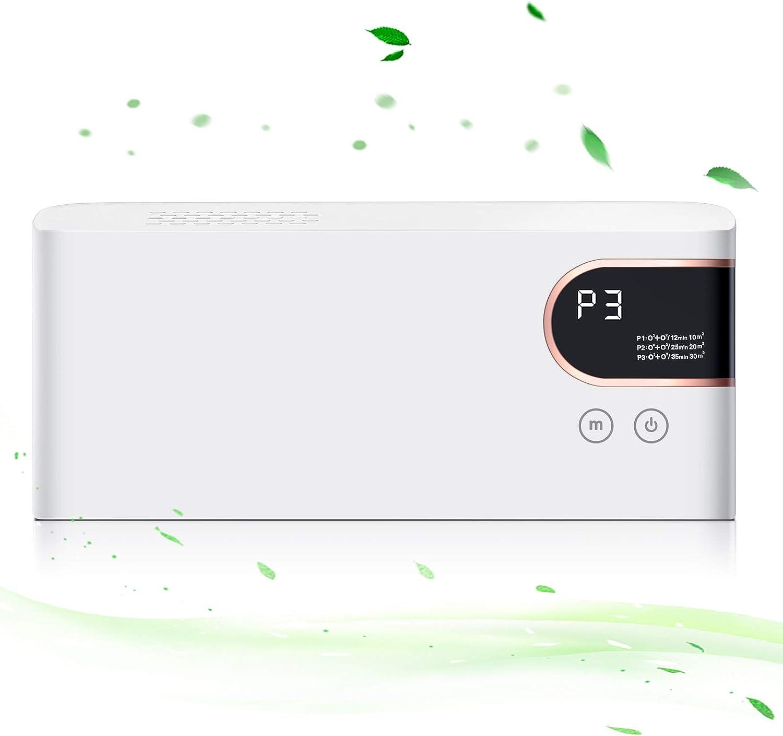 Purificador Aire, Maquina Ozono con 3 Modos, 100 mg/h Generador de Ozono, Portátil Ionizador de Aire para Hogar / Cocina / Oficina / Coche, No Requiere Filtro