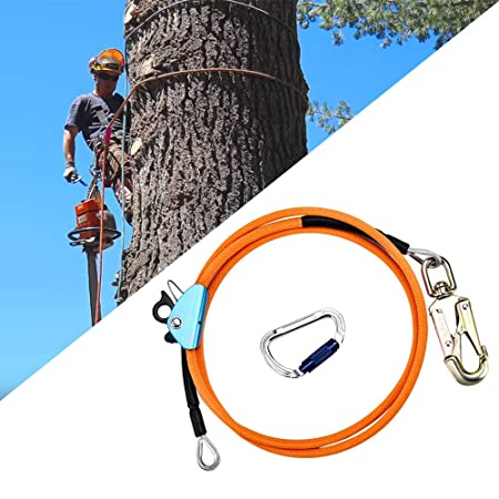 Adjustable Lanyard HUKOER 12mm*2.4m Steel Wire Core Flip Line Kits with Triple Lock Carabiner Adjuster Low Stretch for Fall Protection Tree Climbers Arborist