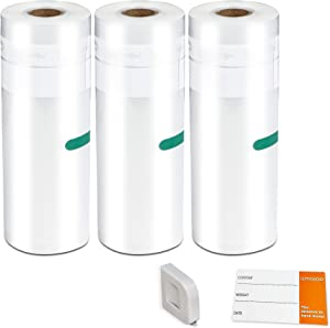 AMASOO 3-PACK | 8'' x 50' Vacuum Sealer Rolls, BPA-free Heavy-duty Universal Food Saver Vacuum Sealer Bags for Food w/ Cutter & Food Labels | Work with Foodsaver, Seal a Meal, Geryon etc. | Sous Vide / Freezer Storage