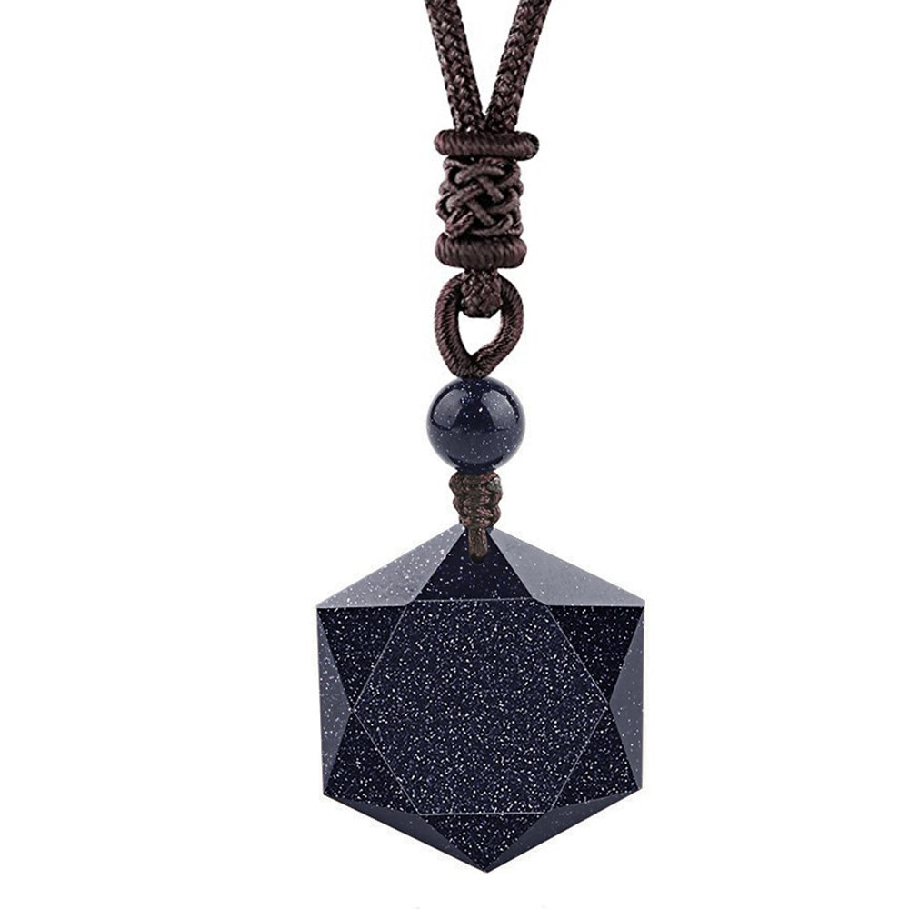 OCARLY Black Obsidian/Blue Sandstone Star of David Necklace Hexagram Amulet Gemstone Pendant Jewish Religious Jewelry for Men Women