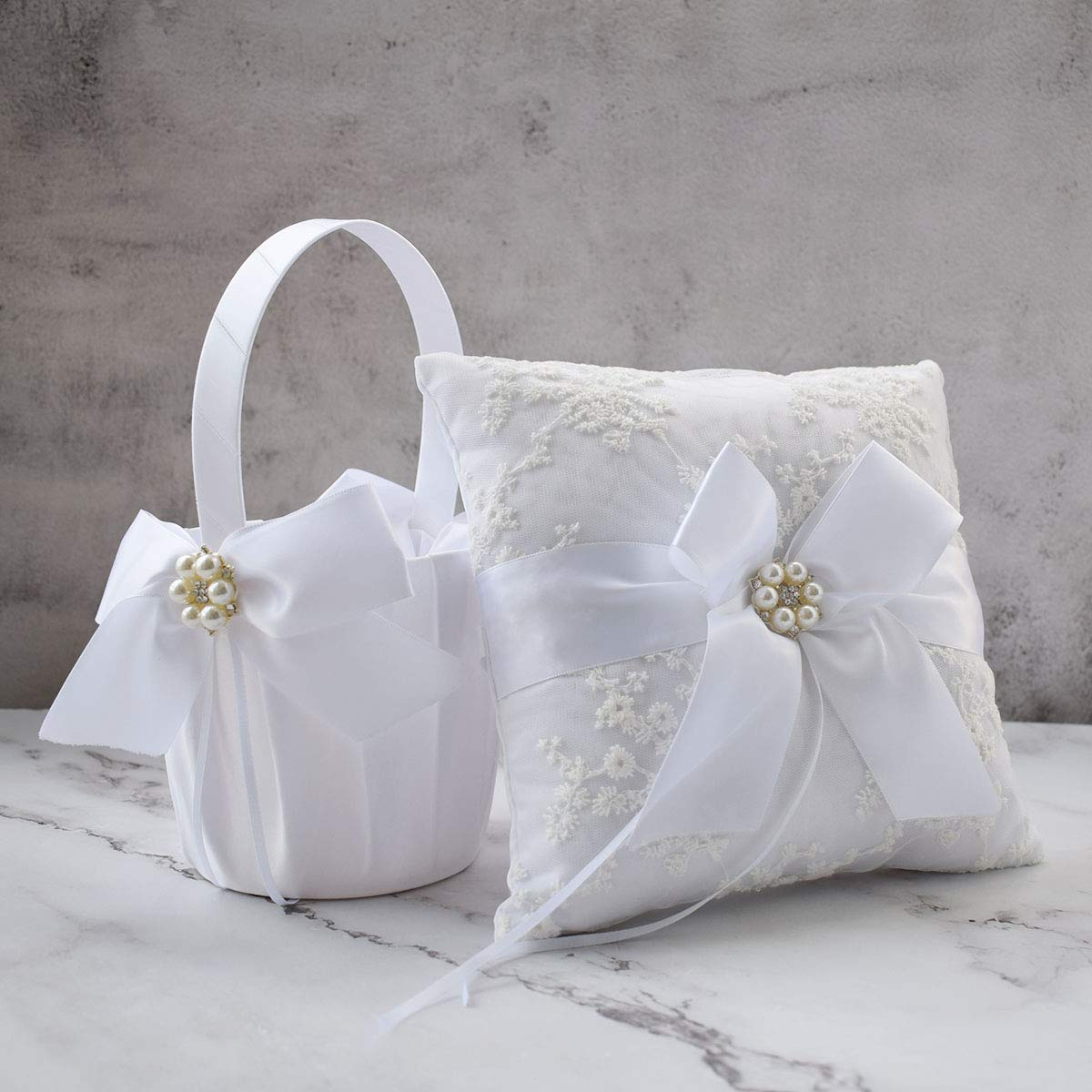 ATAILOVE Wedding Flower Girl Basket and Ring Bearer Pillow Set, Satin Bow Lace Rhinestone Collection (White) by ATAILOVE