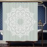 Wanranhome Custom-made shower curtain Arabian by Oriental Pattern with Damask Arabesque and Floral Elements Classical Islamic Art Motifs Green White For Bathroom Decoration 72 x 92 inches