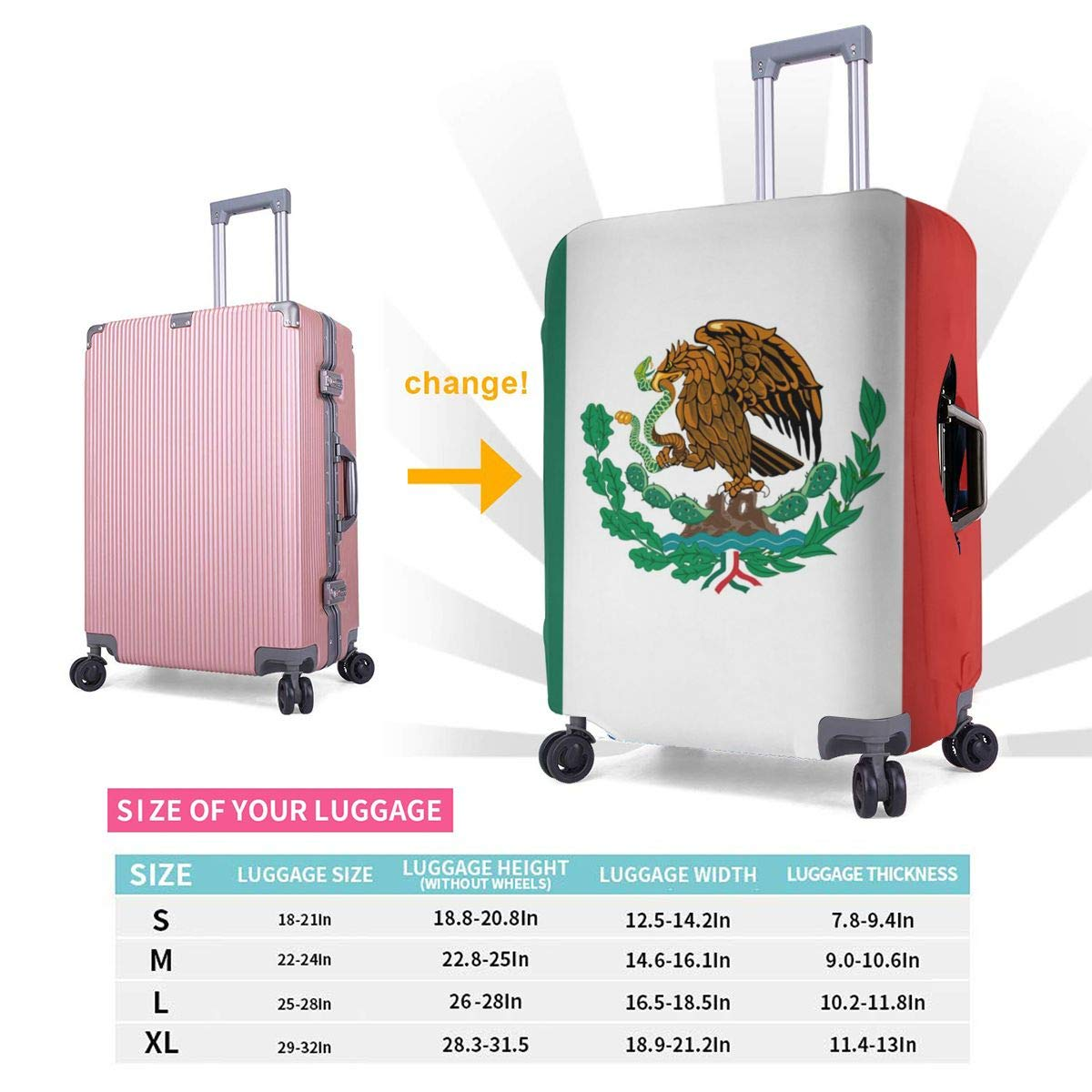 4 Size Mexico Flag Printed Business Luggage Protector Travel Baggage Suitcase Cover