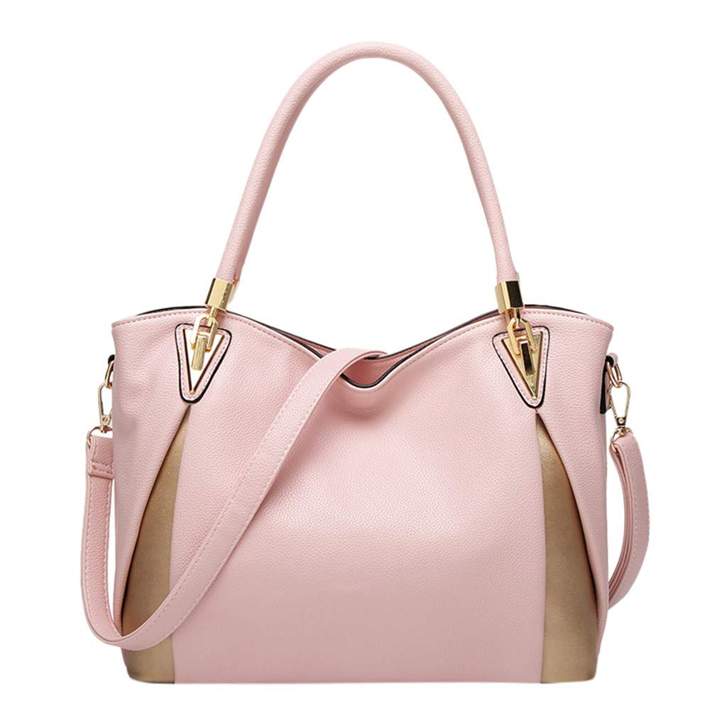 Women Large Capacity Waist Bag Simple All-purpose Fashion Soft Leather Shoulder Bag Totes (Pink)