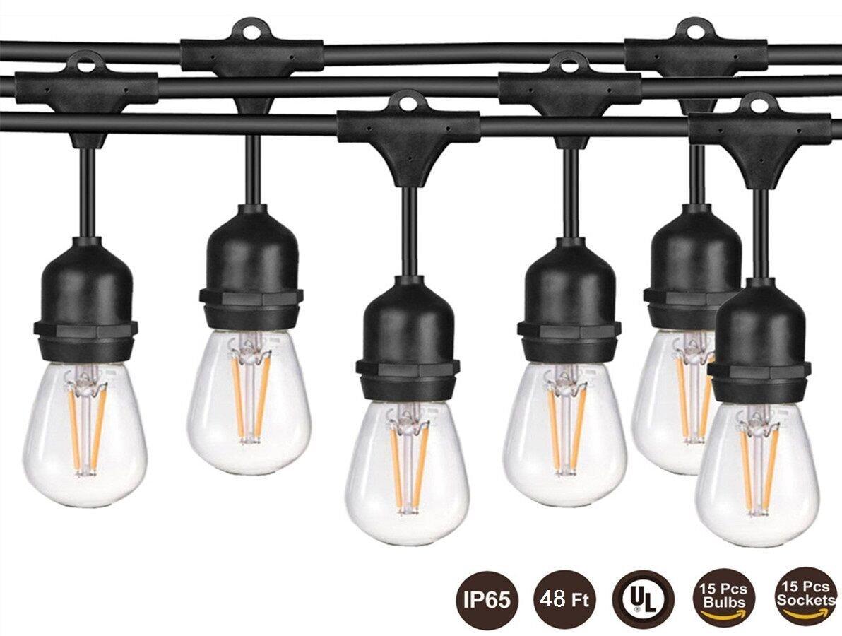 48ft Outdoor LED Edison Style String Light