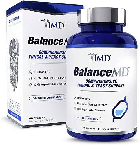 1MD BalanceMD – Candida Fungal Yeast Support 18 Billion CFUs Probiotics, Digestive Enzymes, Oregano, and Aloe Vera 60 Capsules