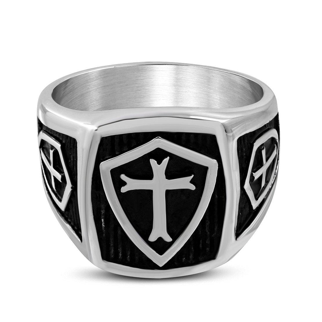 Stainless Steel 2 Color Latin Cross Shield Biker Ring