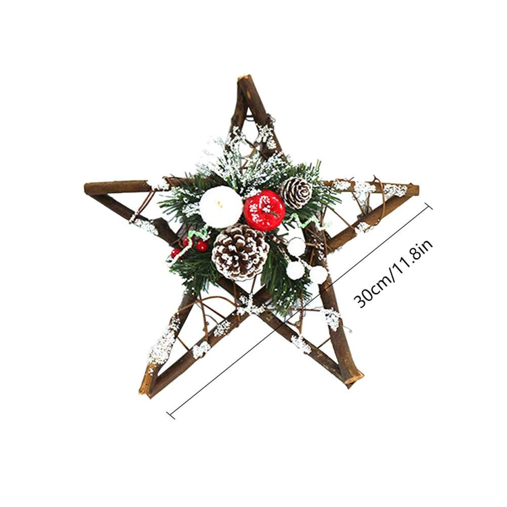 Natural Pinecone Rattan Star Light Christmas Tree Topper Xmas Treetop Hanging Ornaments cheerfullus