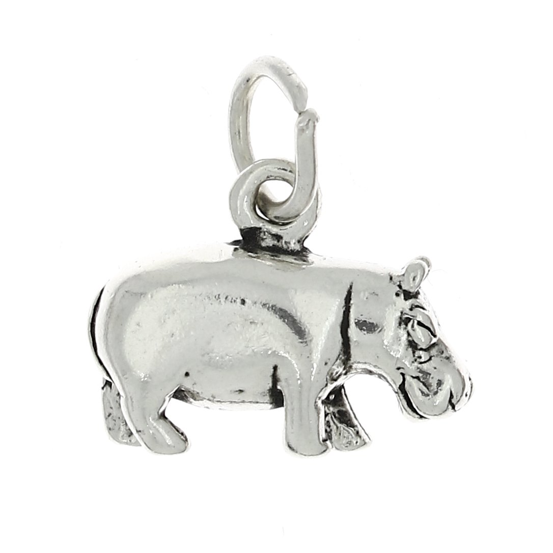 Lgu Sterling Silver Oxidized Three Dimensional Hippopotamus Hippo Charm