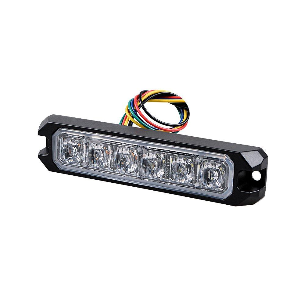 4pcs, Amber 30W IP68 6-LED Emergency Warning SYNC Strobe Light Surface Mount Car Truck 12V-24V