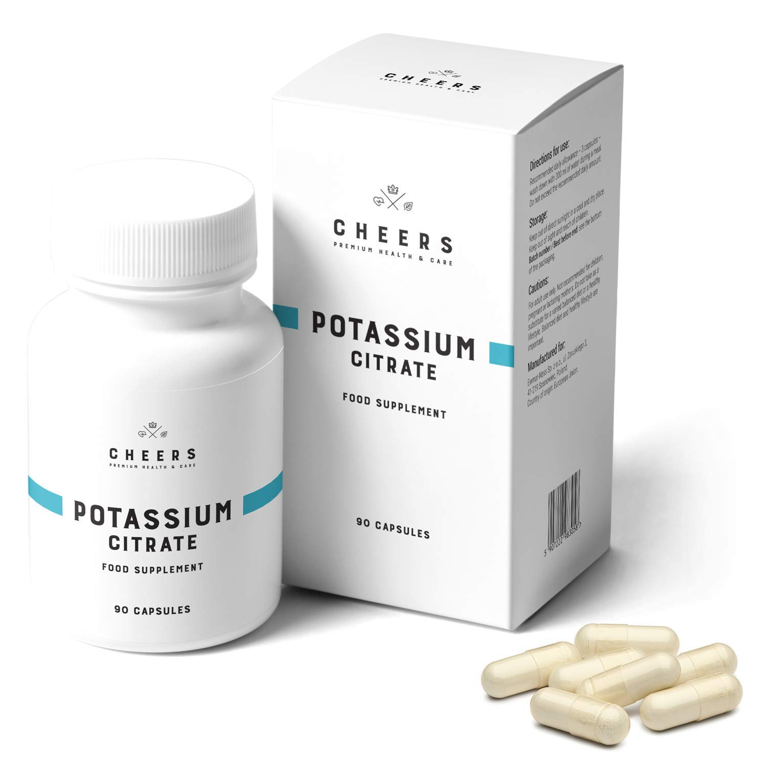 Cheers Natural Potassium Citrate Capsules 333mg | 90 Vegan Potassium Tablets | 1000mg Daily Dosage = 50% DV | Keto Potassium Supplement Premium Quality for Adults | Natural Mineral Electrolyte