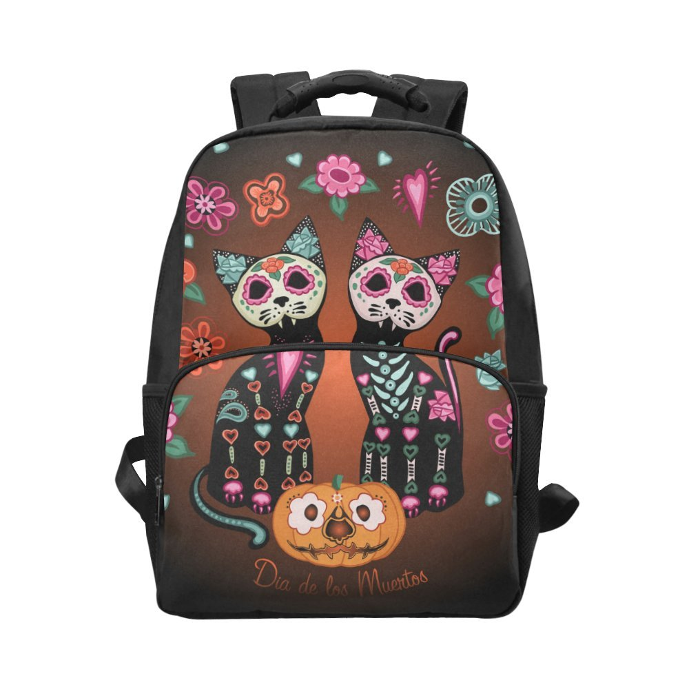 Unique Debora Custom Unisex Laptop Backpack Computer Bag Multipurpose Daypacks for Cats In Love Pumpkins And Flowers Day Of The Dead