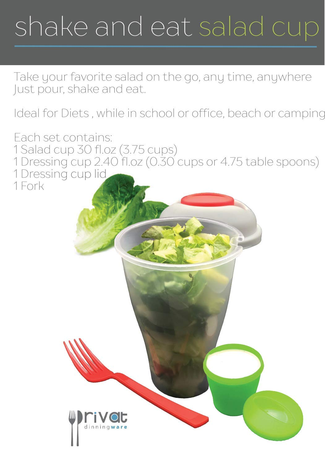 Shake and Eat 2 Fresh Salad Cups both Including a Fork and a Dressing Cup Ramco International Corporation PVT-108 Privat