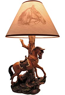 Resin Table Lamps Light Fantastik Saddled Horse Lamp With Printed Fabric Shade 13