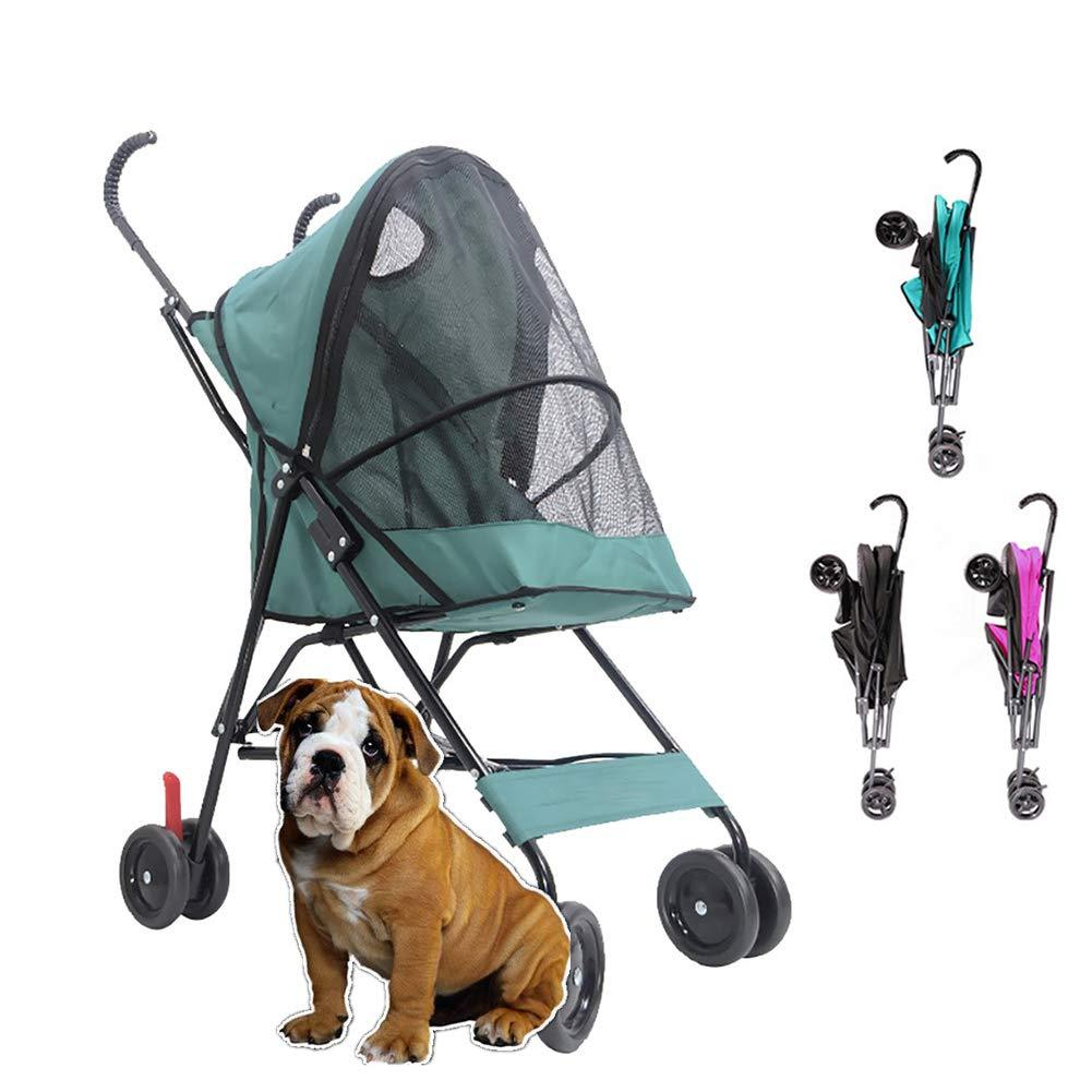 DJLOOKK Passeggino per Cani Passeggino per Animali Domestici A Quattro Ruote per Animali Domestici, per Gatti, Cani E Altro, Carrello da Passeggio Pieghevole, Colorei Multipli,verde