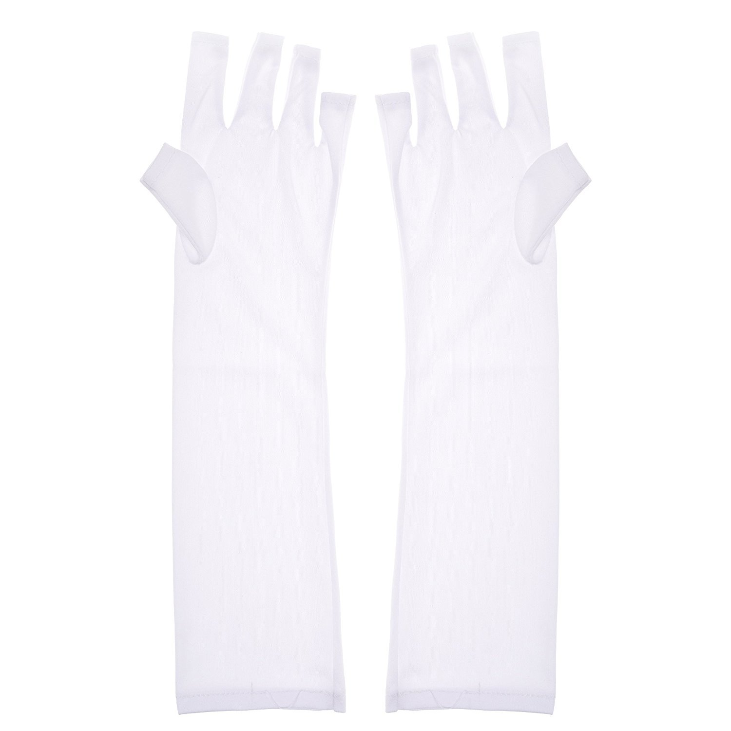 KLOUD City Pack of 2 UV Protective Sleeves White Gloves For Led Nail Dryer Gel Curing Nail Polish