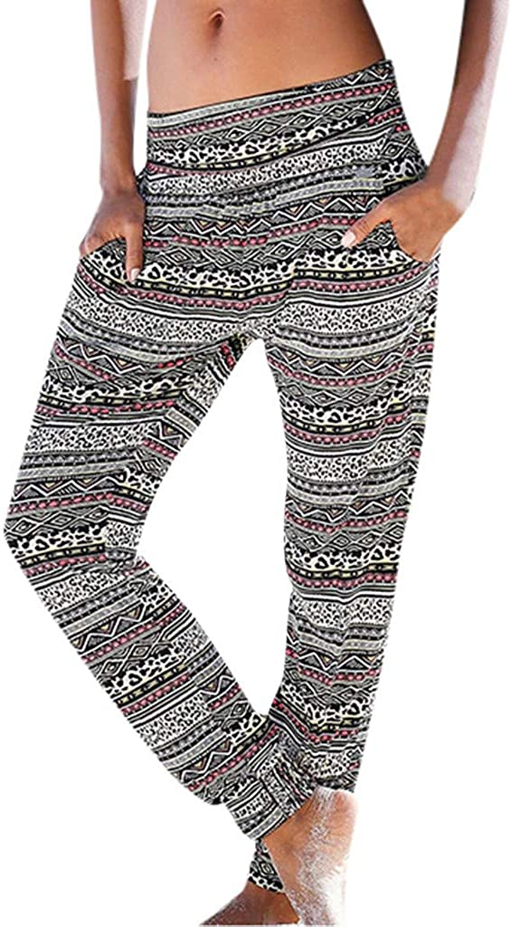 Pantalon Femme Fluide,ITISME Sarouel Femme Boh/ême Taille Haute Impression de Pantalons Taille Elastique Faciles Pantalons Longs Sablonneux Pantalon De Plage avec Poche