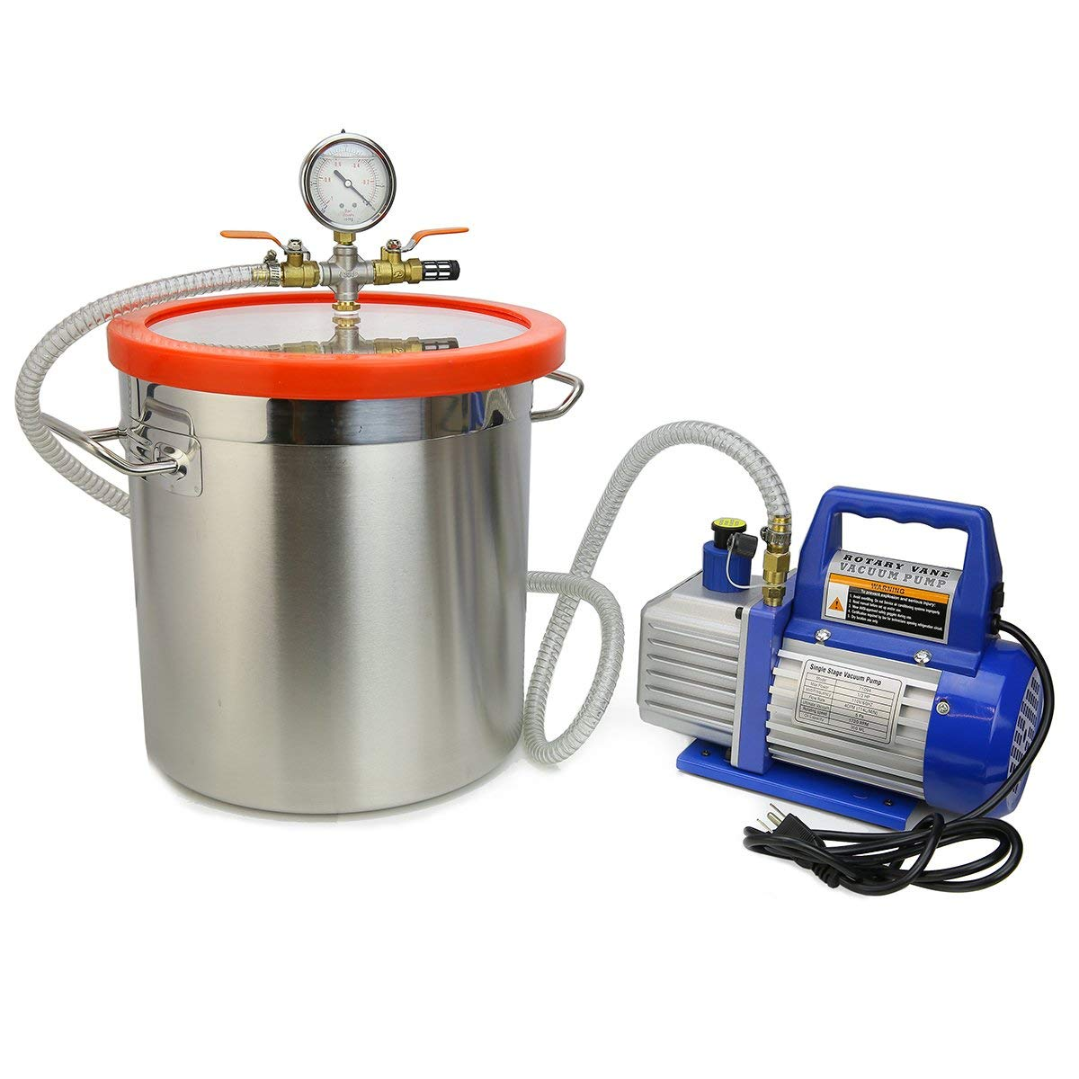 XtremepowerUS Vacuum Pump and Chamber Kit Degass Urethanes, Silicones and Epoxies (5 CFM Two-Stage Vacuum Pump 3 Gallons Chamber)