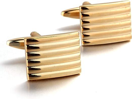 AmDxD Gemelos Chapados Oro para Hombres Oro Rectángulo Rayas Gemelos Camisa Gemelos Boda: Amazon.es: Joyería