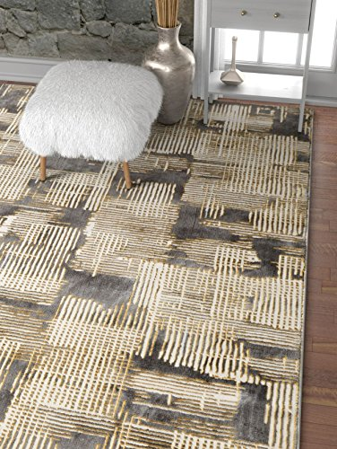 Well Woven Modern Geometric Canny Grey and Yellow High-Low Pile Area Rug 5x7 (x) Abstract Washed Out Boxes Carpet, 5'3