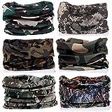 KALILY 6PCS Headband Bandana - Versatile Camouflage Headwear -Multifunctional Seamless Neck Gaiter, Headwrap