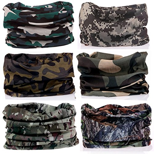 KALILY 6PCS Headband Bandana - Versatile CAMOUFLAGE Headwear –Multifunctional Seamless Neck Gaiter, Headwrap, Balaclava, Helmet Liner, Face Mask for Camping, Running, Cycling, Fishing etc Camouflage Balaclava