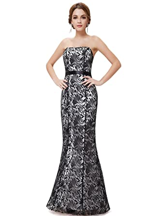 HE08247BK06, Black, 6UK, Ever Pretty Formal Dresses Black Lace For Women 08247