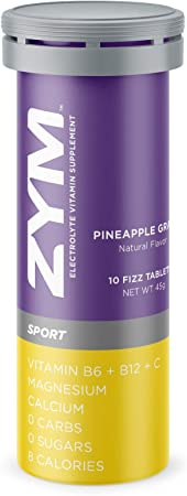 ZYM Sport Electrolyte Effervescent Tablets - Natural Electrolyte Replacement Supplement for Fast Hydration & Energy (Pineapple Grape, 1 Pack)