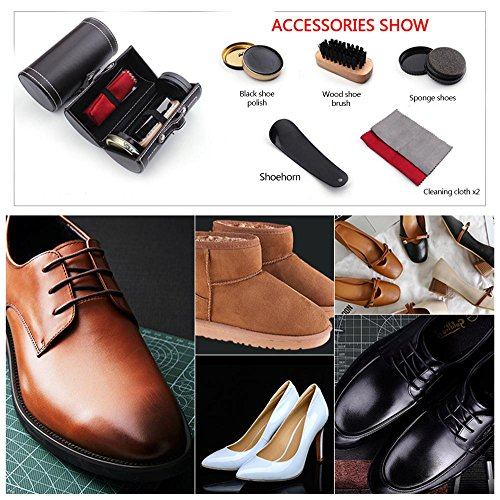 Shoe Shine Brush Set,AOLVO Leather Shoes Care Cleaning Polish Tools Set with Portable Black Leather Case, Travel Shoe Shine Care Kit 6 Piece by AOLVO (Image #2)