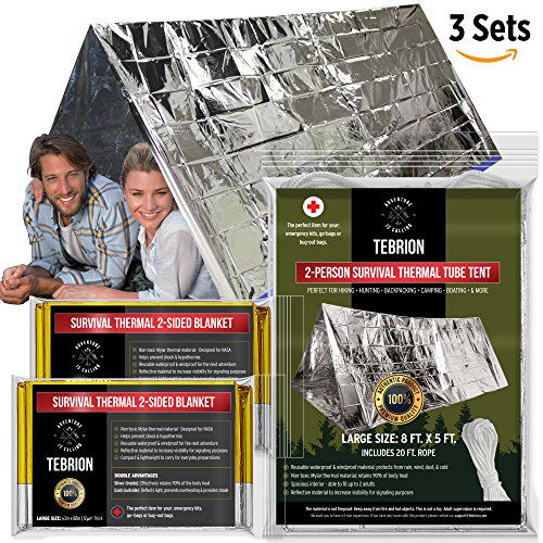 """Emergency 2-Adults Mylar Thermal Tent and Large 63"""" x 82"""" Blankets (2-Pack) Set - Designed for NASA - Perfect for Emergency First Aid Kit, Bug Out Bag, Survival, Hiking, Auto, or Outdoors (Wind Blocker Tent)"""