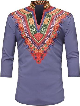 DianShaoA Camisa Dashiki para Hombre Media Manga con Estampado Africano Tradicional En Color Tops: Amazon.es: Ropa y accesorios