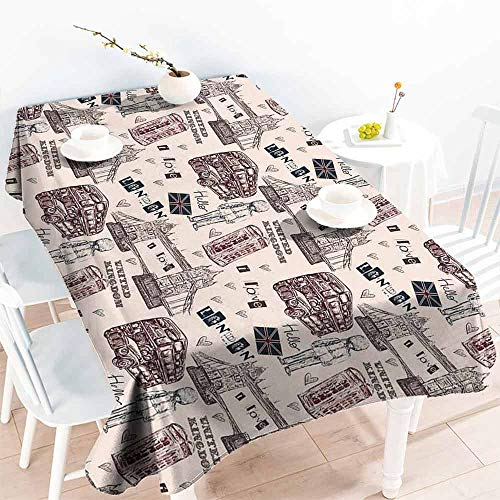 HCCJLCKS Polyester Tablecloth Modern London United Kingdom Island Print with City Signs Bus Bridge Artwork Print Table Decoration W52 xL70 Black and Maroon -