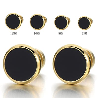 f15853bcd 6MM Mens Womens Gold Black Stud Earrings Stainless Steel Illusion Tunnel  Plug Screw Back, 2pcs