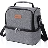Lifewit Insulated Lunch Box Lunch Bag for Adults/Men/Women/Kids, Water-Resistant Leakproof Soft Cooler Bento Bag for Work/School/Meal Prep, Dual Compartment, 7L, Grey