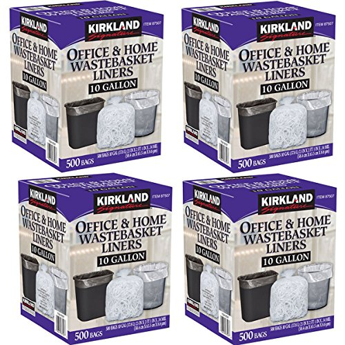 Kirkland Signature Made in USA 10 Gallon Clear Wastebasket Liner Bags for Trash Can 500 Count, - 4 Pack
