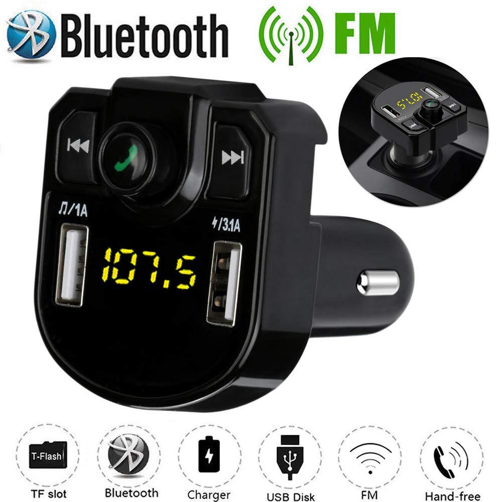 Negro Transmisor FM Bluetooth Coche Manos Libres Heligen Bluetooth 4.2 para Coche Doble USB Reproductor MP3 Mechero Coche Adaptador de Radio