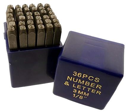 36 Pc 3mm 1 8quot Alphabet Number Steel Stamp